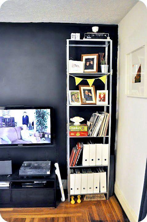 Ikea hack for tall hyllis shelf 30 diy ikea hack - Ideas for dead space in living room ...