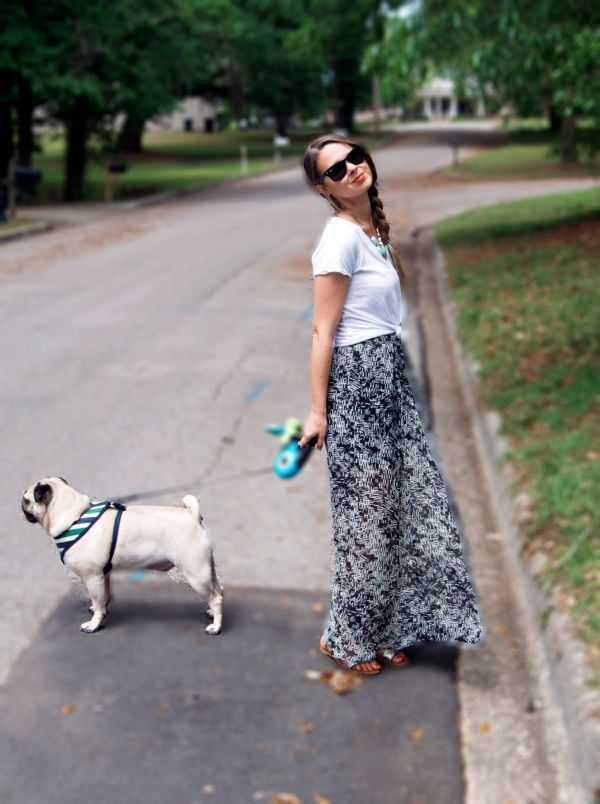 knotted tee over maxi skirt