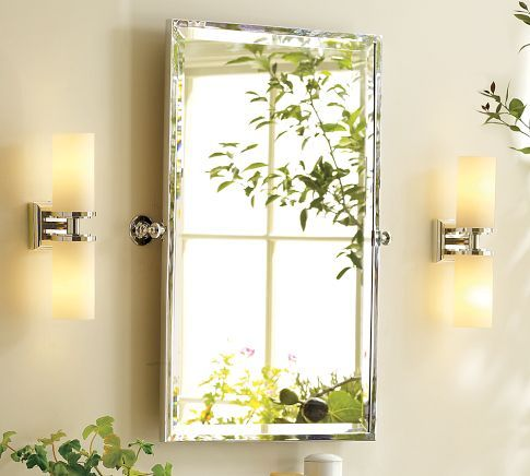 Kensington Pivot Mirror, Rectangle, Satin Nickel Finish