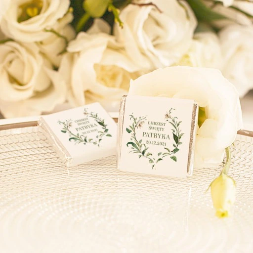Czekoladka Personalizowana Chrzest Delikatne Lilie Place Card Holders Place Cards Cards