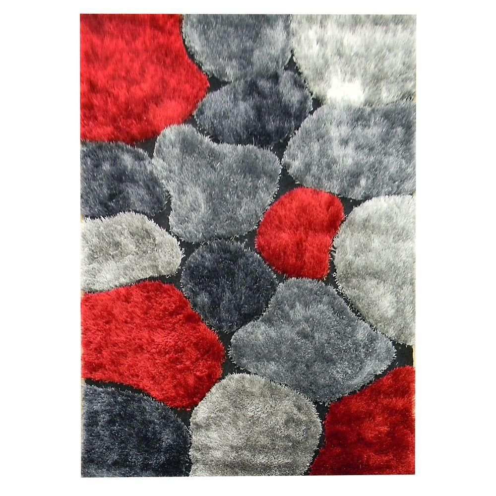 Flash Shaggy Abstract Color Block Design Red 4 ft. 11 in. x 6 ft. 10 in. Indoor Area Rug