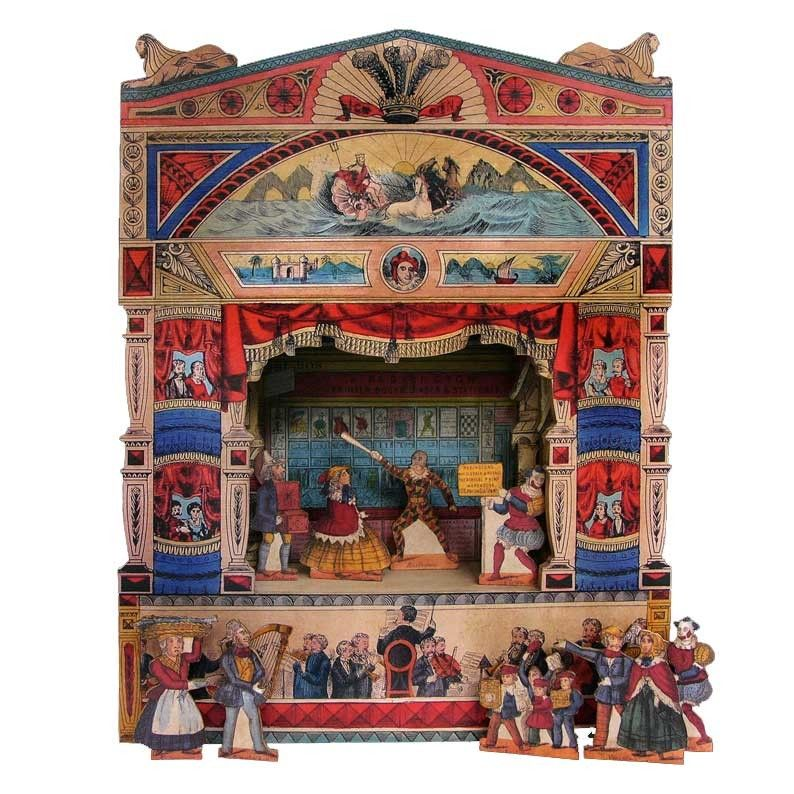 A pollock 39 s theatre model box with 9 wooden characters for Theatre model