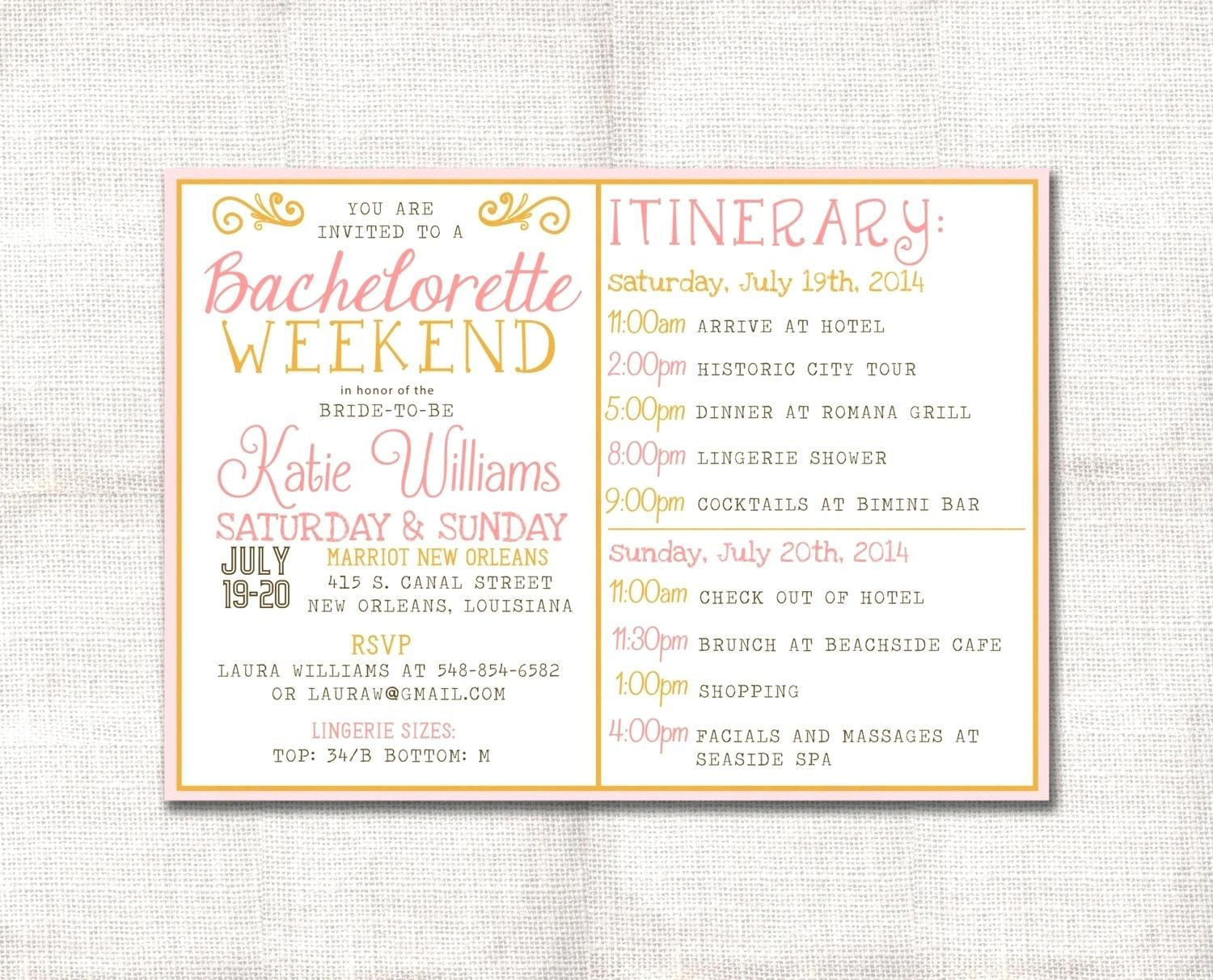 Template Bachelorette Party Agenda Template Zoom Free Wedding