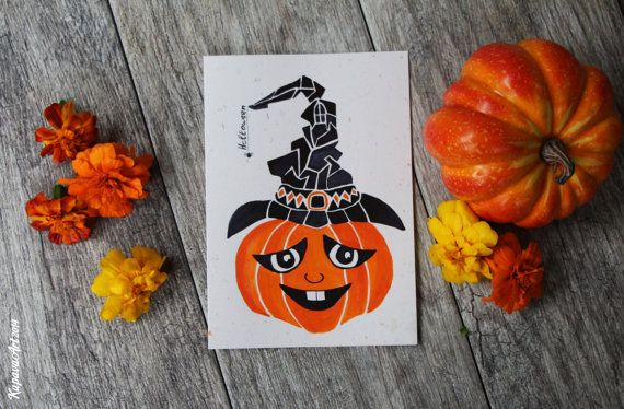 Halloween Card. Witch's hat .Wicked pumpkin. Halloween pumpkin. Happy Halloween…