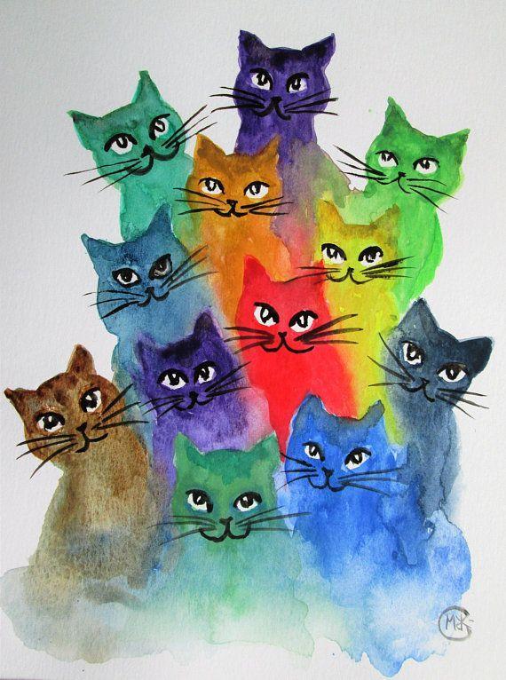 Ursprüngliche Kätzchen- und Katzenkunst durch marjansart, Katze, viele bunten Katzen, Katzenmalerei, Regenbogenkatze, Katzenliebhabergeschenk, Wohngestaltung, Geschenk für sie - Tiere Blog #giftsforcats