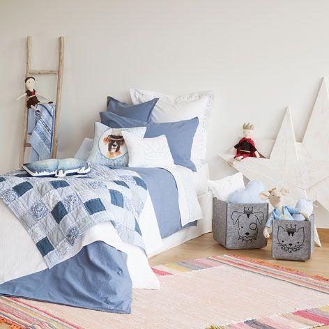 edredn y funda de cojn patchwork azul edredones cama zara home espaa