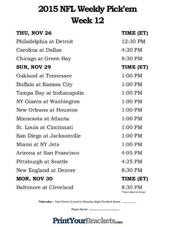 image about Nfl Week 12 Printable Schedule identify Printable NFL 7 days 12 Timetable Pick out em Workplace Pool 2015