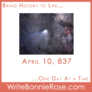 Timeline Worksheet: April 10, 837, Halley's Comet. On April 10, 837, Halley's comet came within approximately 3.5 million miles of Earth. It is the closest it has ever traveled to Earth, more than 14.5 times the distance to the moon but more than 40 million miles closer than the planet Mars.