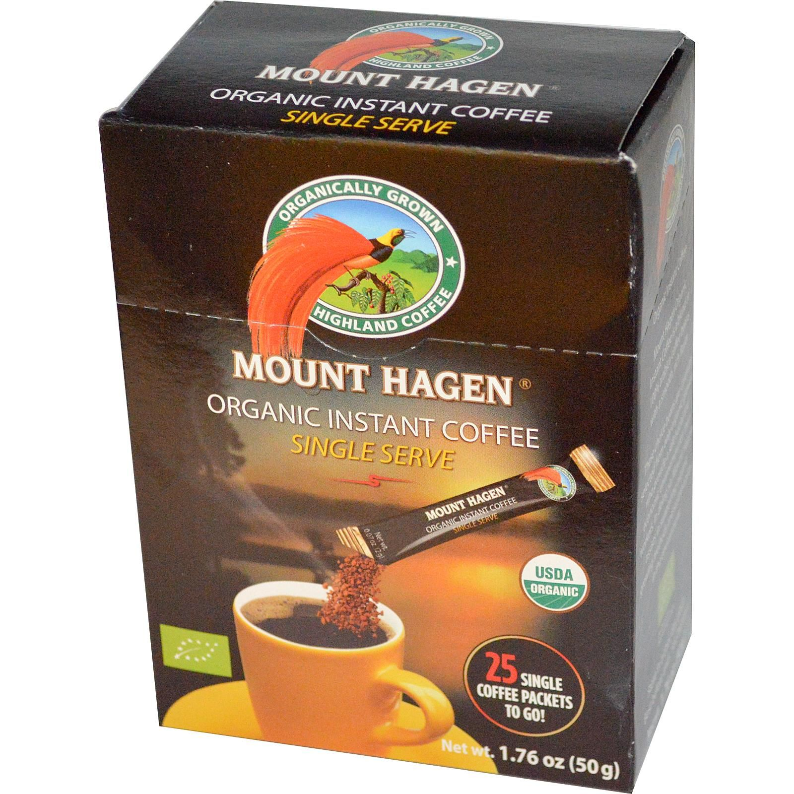 Mount Hagen, 유기농 인스턴트 커피, 25 팩, 1.76 oz (50 g)