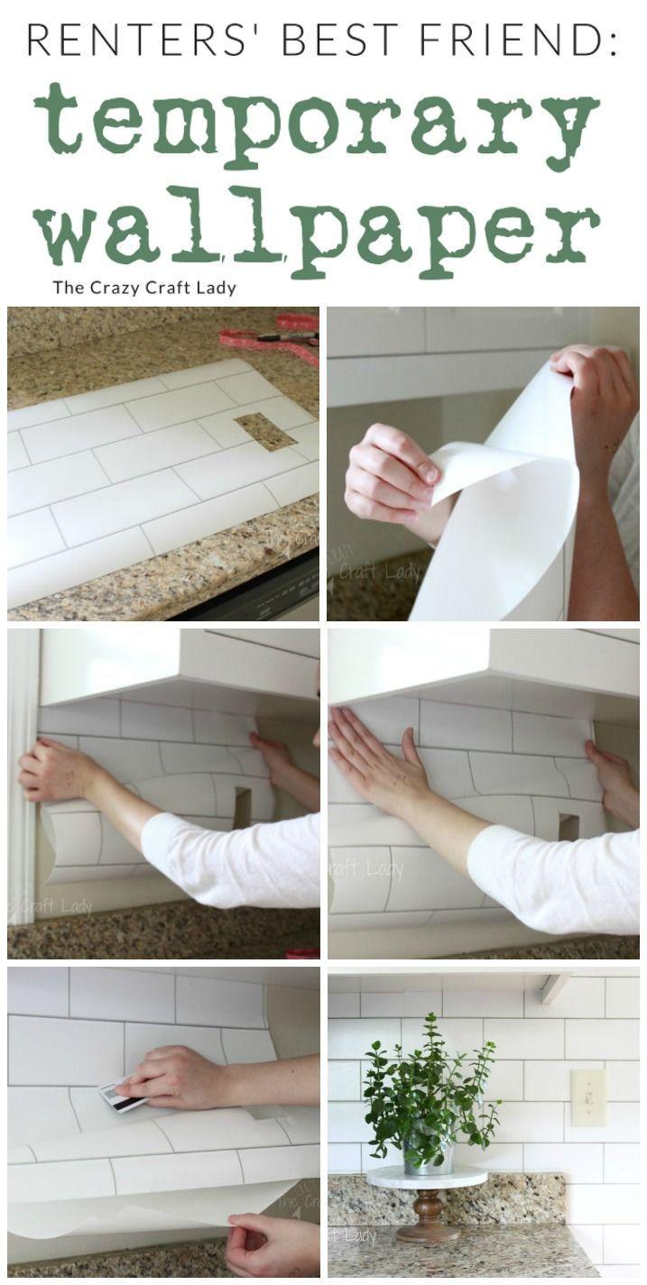 White Subway Tile Temporary Backsplash - The Full Tutorial - The Crazy Craft Lady