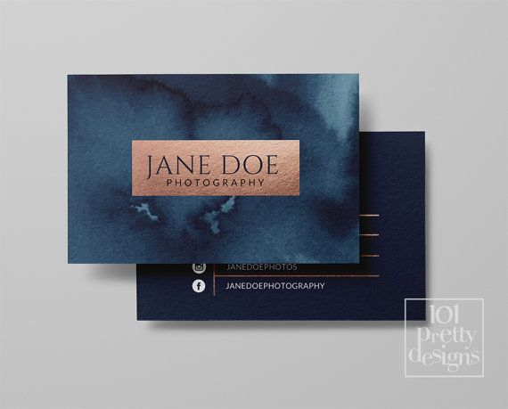 Watercolor Business Card Template Rose Gold Printable Business Card Design Gold And Navy Business Cards Business Card Rose Gold Foil Makeup Watercolor Business Cards Printable Business Cards Business Card Template