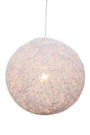Taklampe Ø40 cm i hvitlakkert snor med transparent  ledning og krommet takkopp 120 cm. E27 stor pæreholder maks 53W.<br><br>OBS! Noen tak/vinduslamper leveres med EU-støpsel som ikke kan benyttes i Norge. Dette må klippes av - for utbytting til støpsel av norsk standard (må utføres av autorisert elektriker). Alle våre lamper er CE-godkjente.