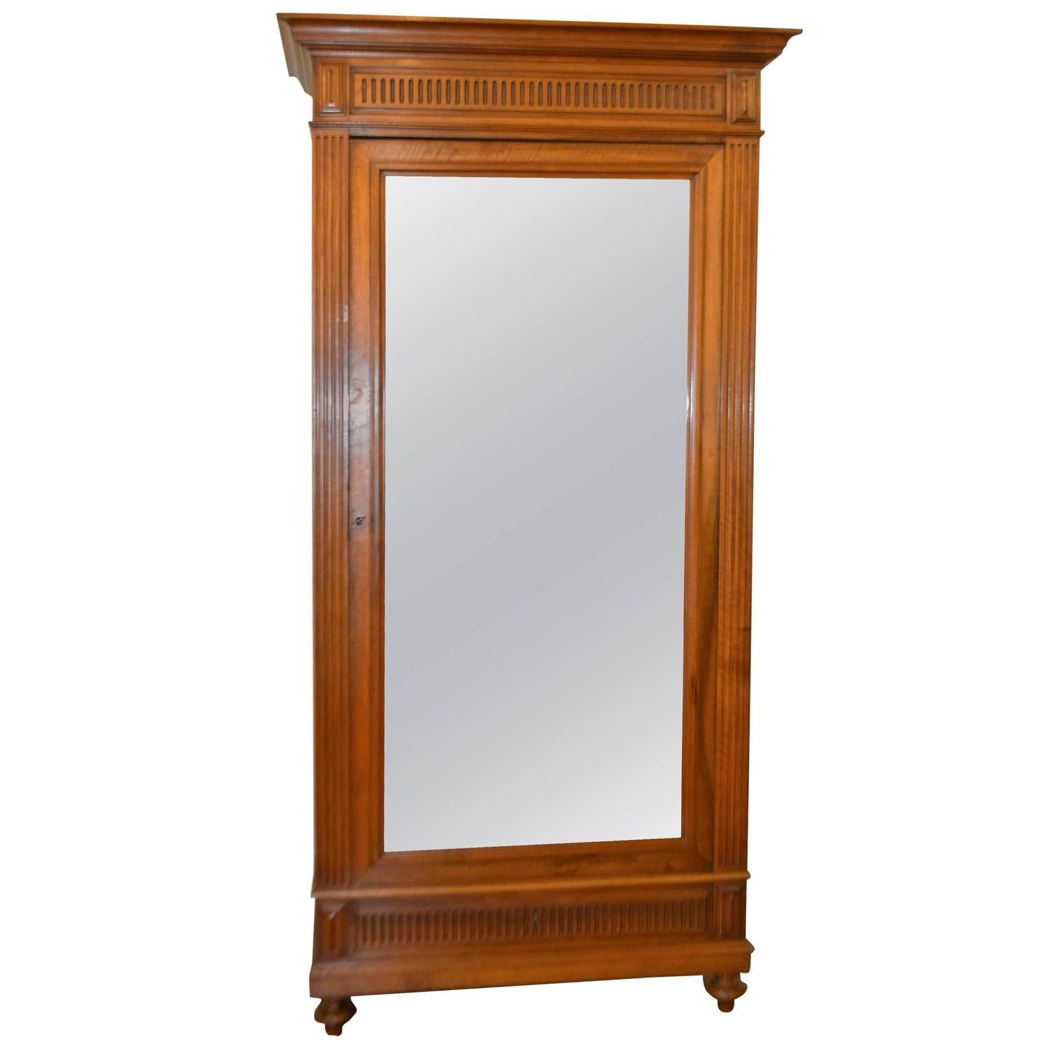 Marvelous Directoire Style Walnut One Door Armoire With Mirrored Door | From A Unique  Collection Of Antique And Modern Wardrobes And Armoires At ...