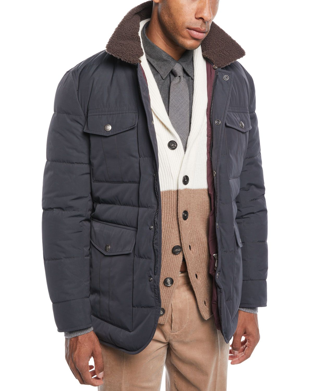 Brunello Cucinelli Men S Padded Technical Puffer Jacket With Shearling Trim Brunellocucinelli Cloth Brunello Cucinelli Men Jackets Man Pad