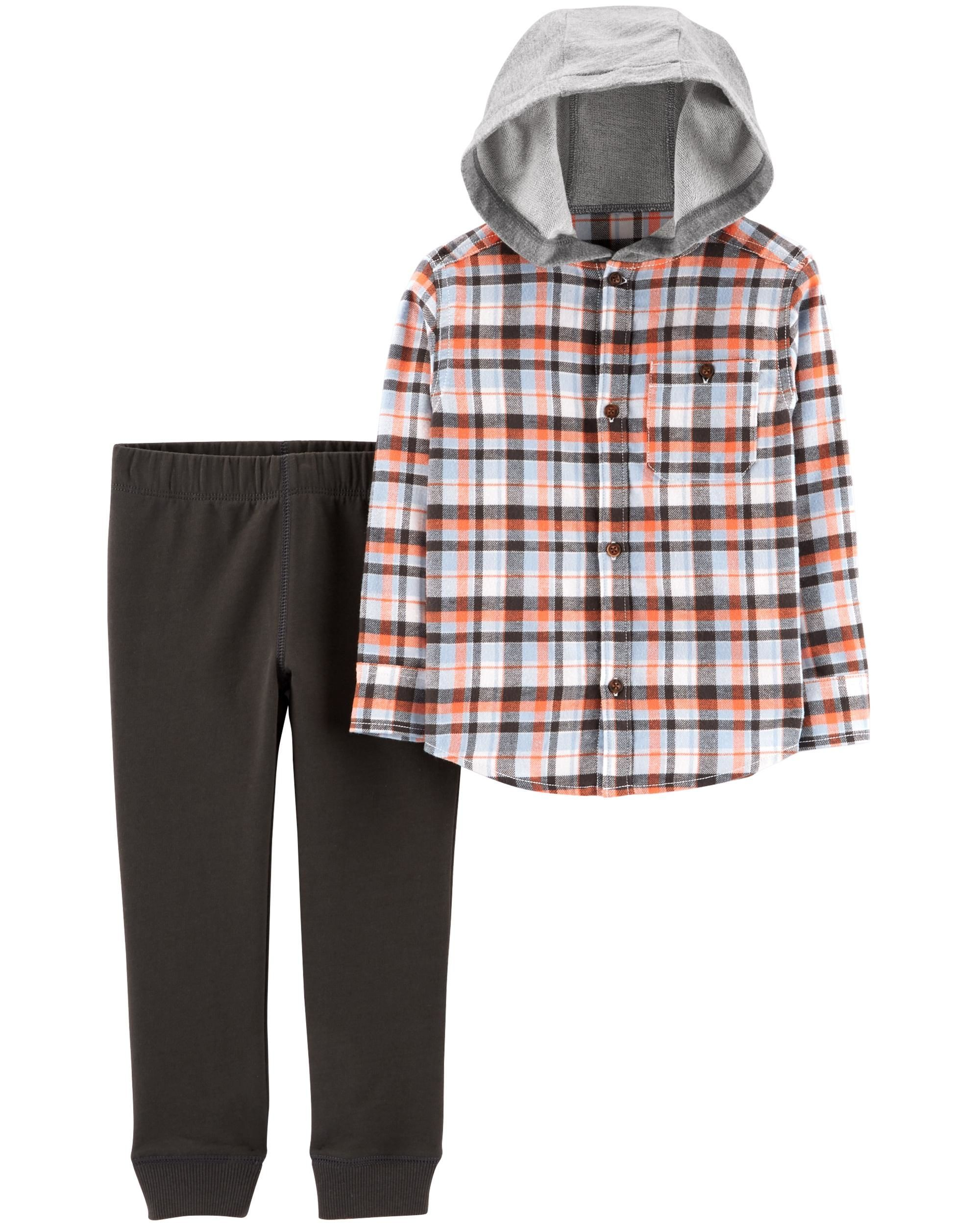 67a5ff114 2-Piece Hooded Button-Front Flannel   Jogger Set
