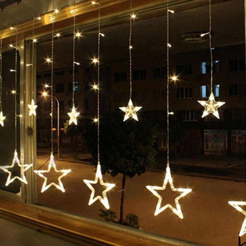 2 m 220 v gordijn ster lichtslingers kerst nieuwjaar decoratie kerst led verlichting kerstversiering 9 kleuren eu plug