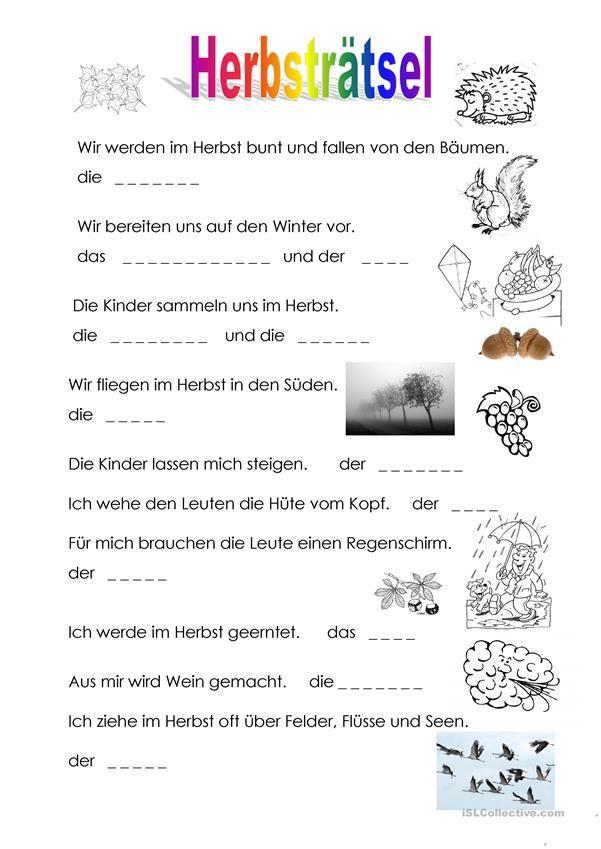 Herbsträtsel Herbst Im Kindergarten Gedicht Herbst Und