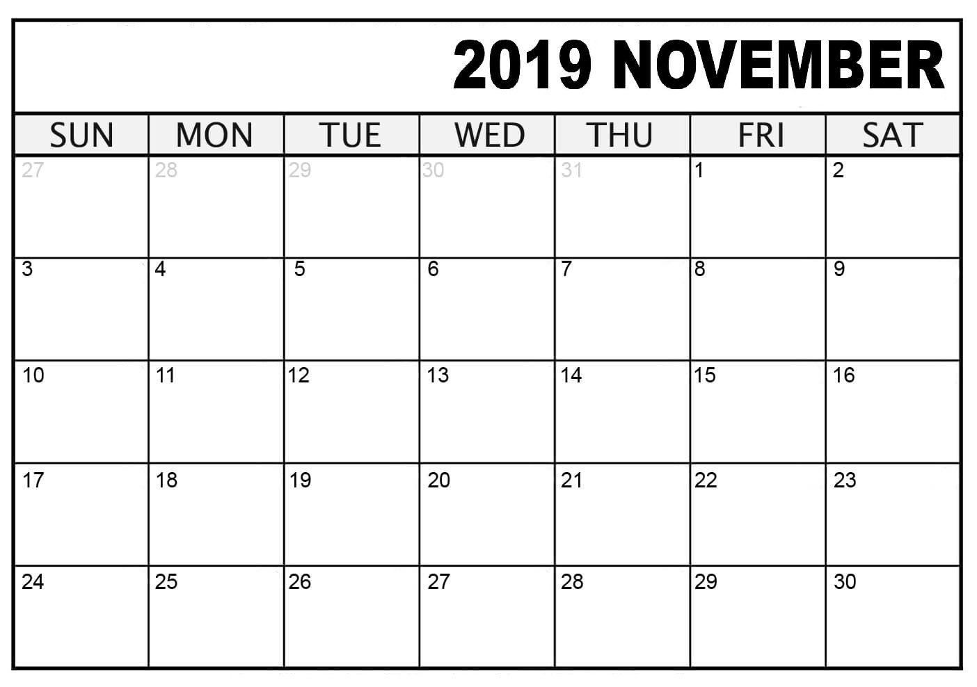 Blank November Calendar Printable Template Download