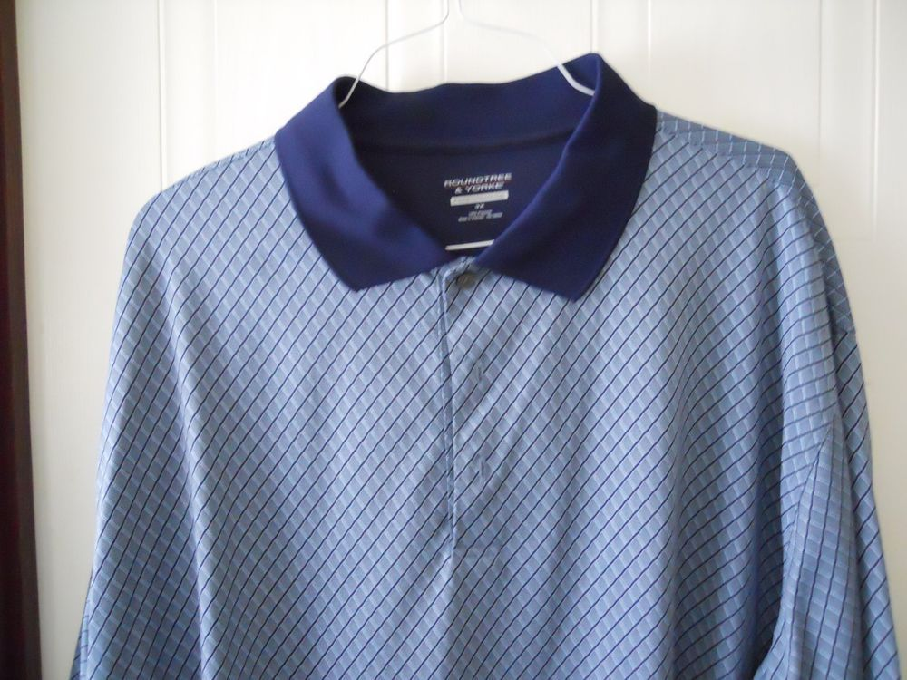 28dc600ff Mens ROUNDTREE   YORKE PERFORMANCE Big   Tall Polo Style Blue Shirt 3XL   RoundtreeYorke  PoloRugby
