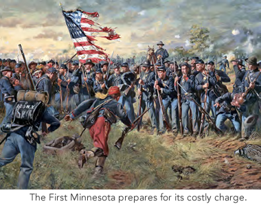The First Minnesota prepares for the charge