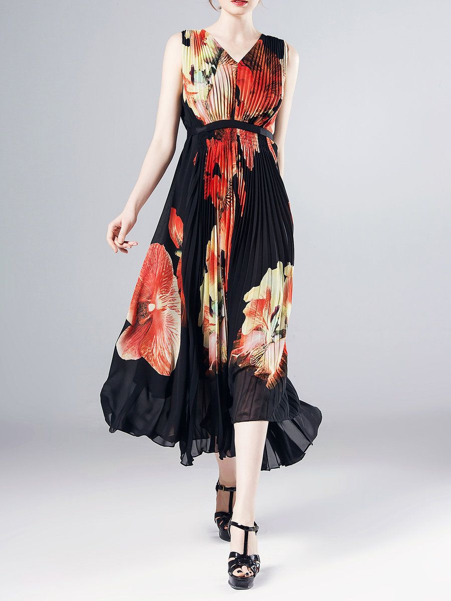 #AdoreWe #StyleWe Maxi Dresses❤️Designer Pokwai Multicolor Sleeveless V  Neck Floral-print