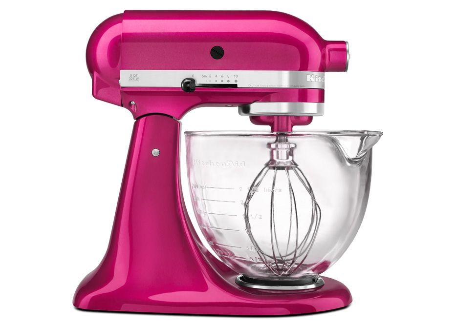 Architect 5qt stand mixer raspberry ice w glass bowl