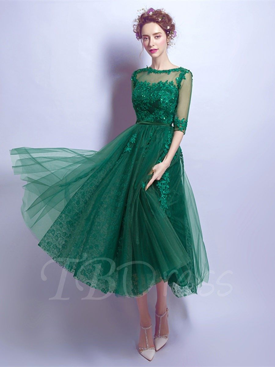 Half sleeves aline scoop appliques beading tealength prom dress