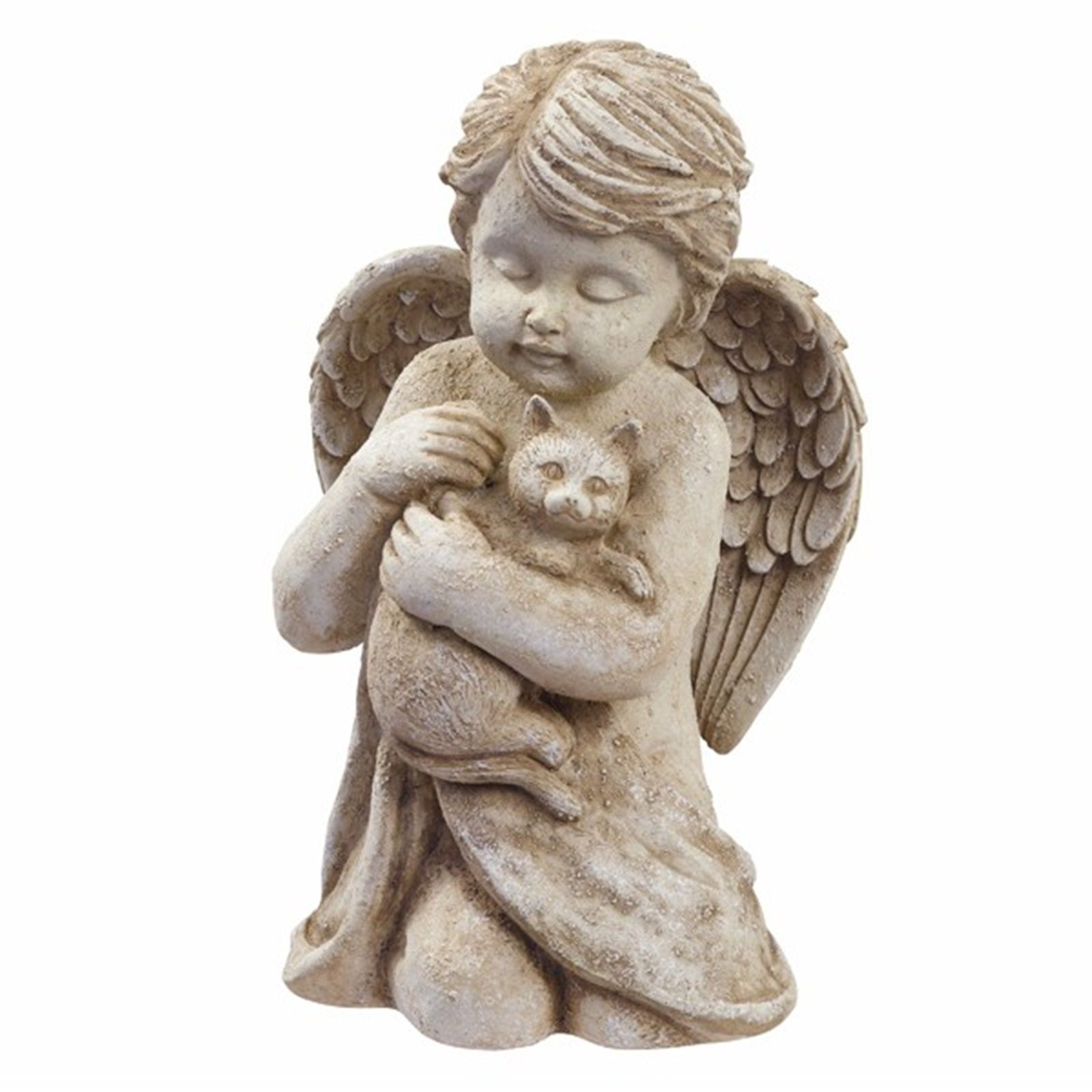 Angel W Cat Kitten Pet Memorial Statue Garden Decor   EBay