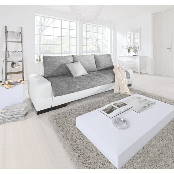 SCHLAFSOFA in Grau, Weiß Textil - Polstermöbel - Polstermöbel - wohnzimmer esszimmer grau beige
