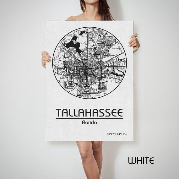 Map Of Florida With Cities.Tallahassee Florida Street City Map Art Print United By Archtravel