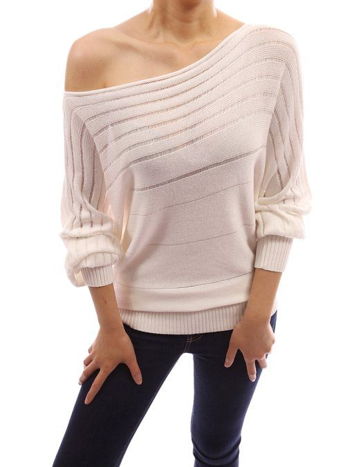 895d0d401c2 PattyBoutik Women's on / off one shoulder Semi-sheer Sweater at Amazon Women's  Clothing store: