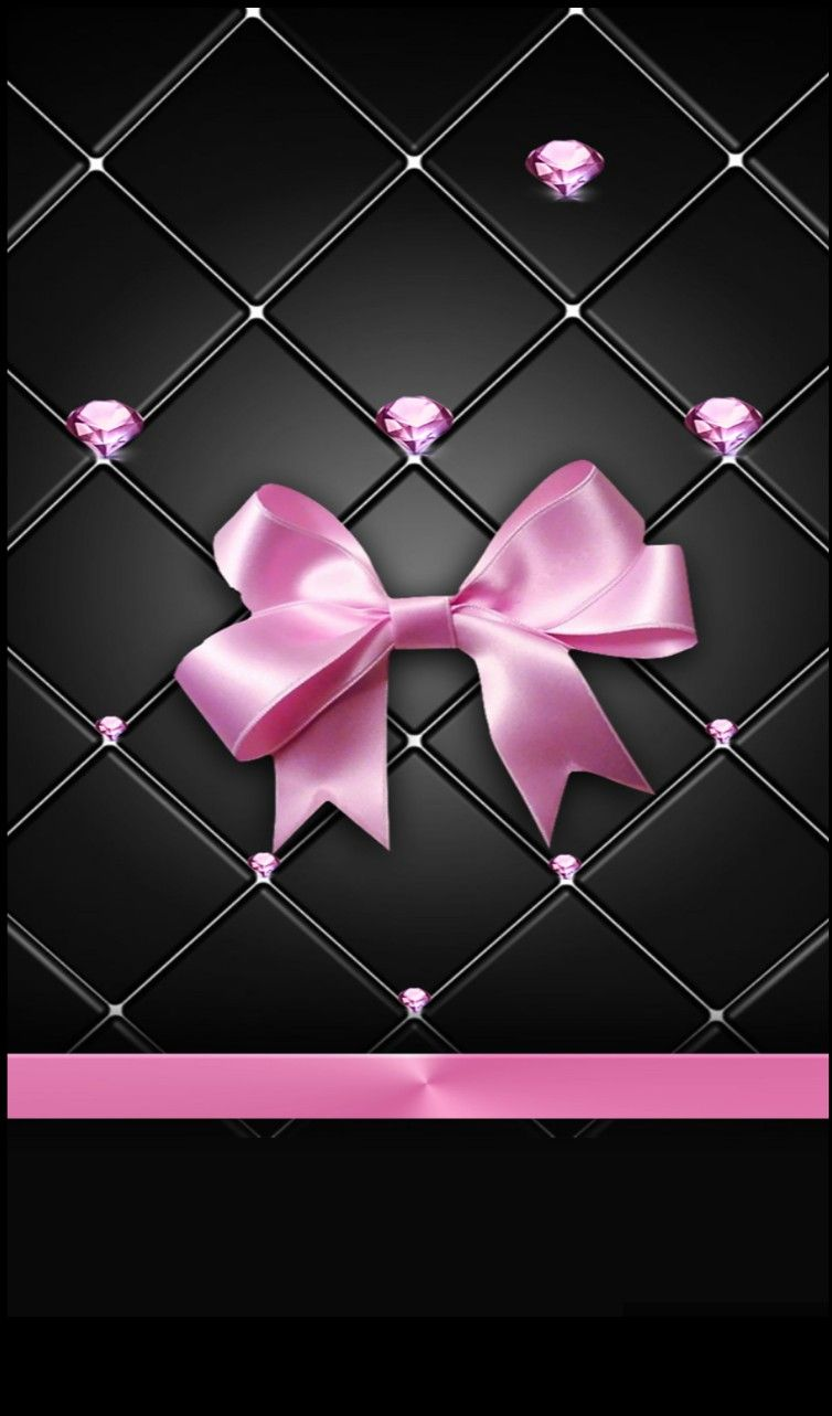 Black And Pink Bow Wallpaper Pretty Wallpapers Bling Wallpaper