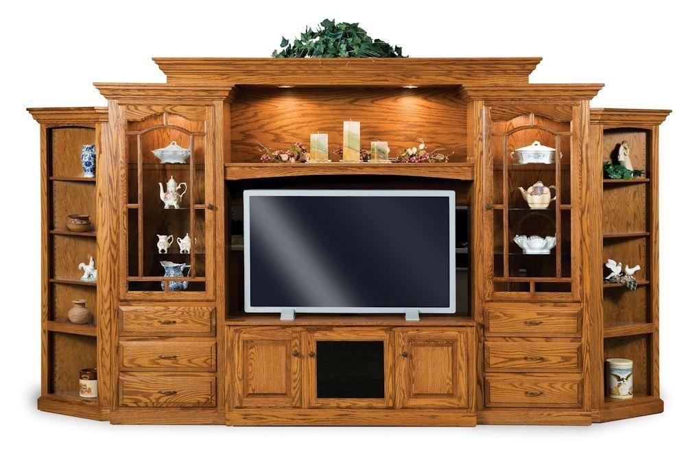 Amish Hoosier TV Entertainment Center Wall Unit Solid Oak