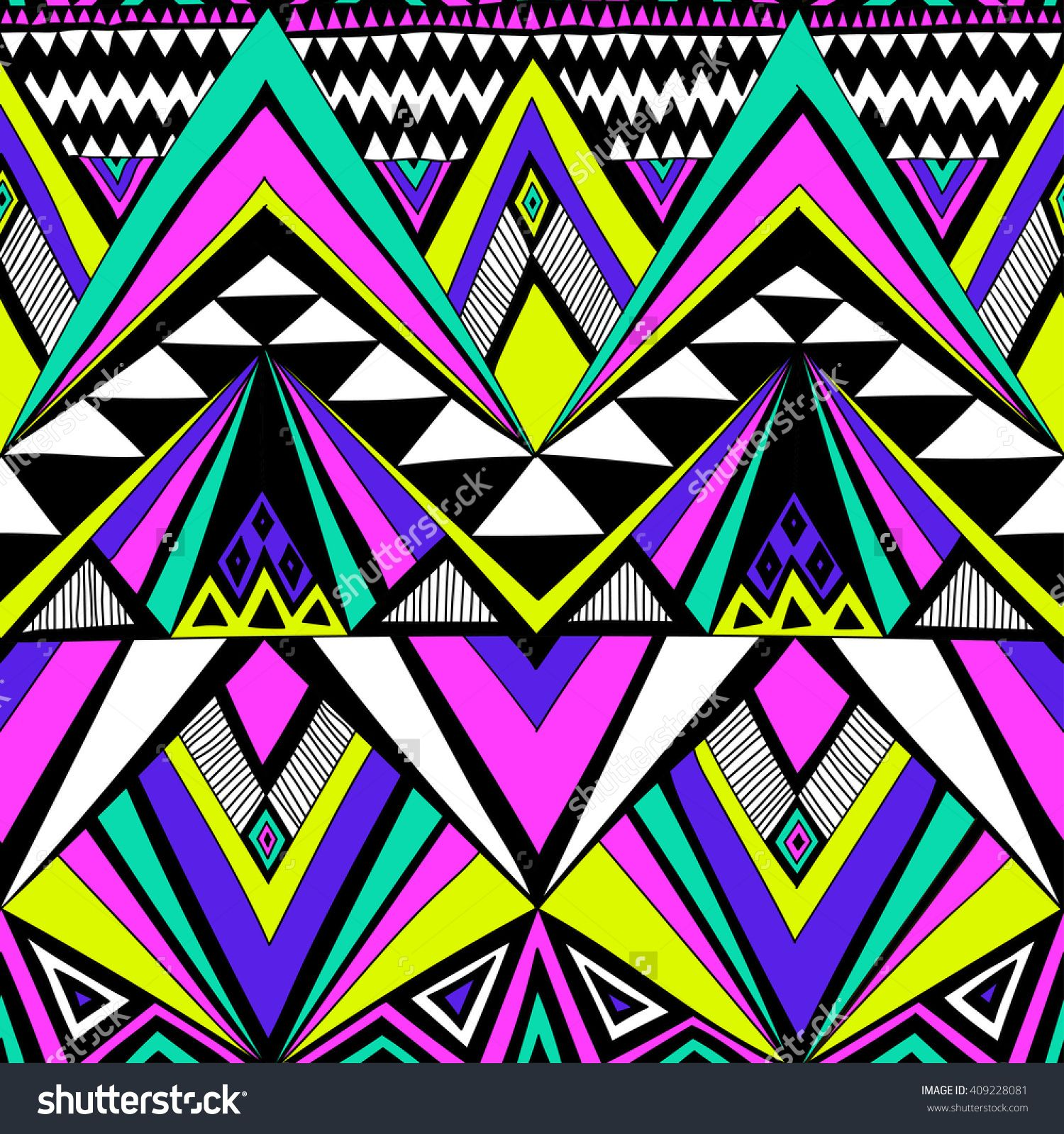 Neon Colors Tribal Navajo Vector Seamless Pattern With Doodle Elements Aztec Abstrac Abstract Geometric Art Print Geometric Art Prints Cute Patterns Wallpaper