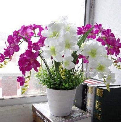 Pas Cher Haute Artificielle Orchidee En Plastique Pot De Fleur En
