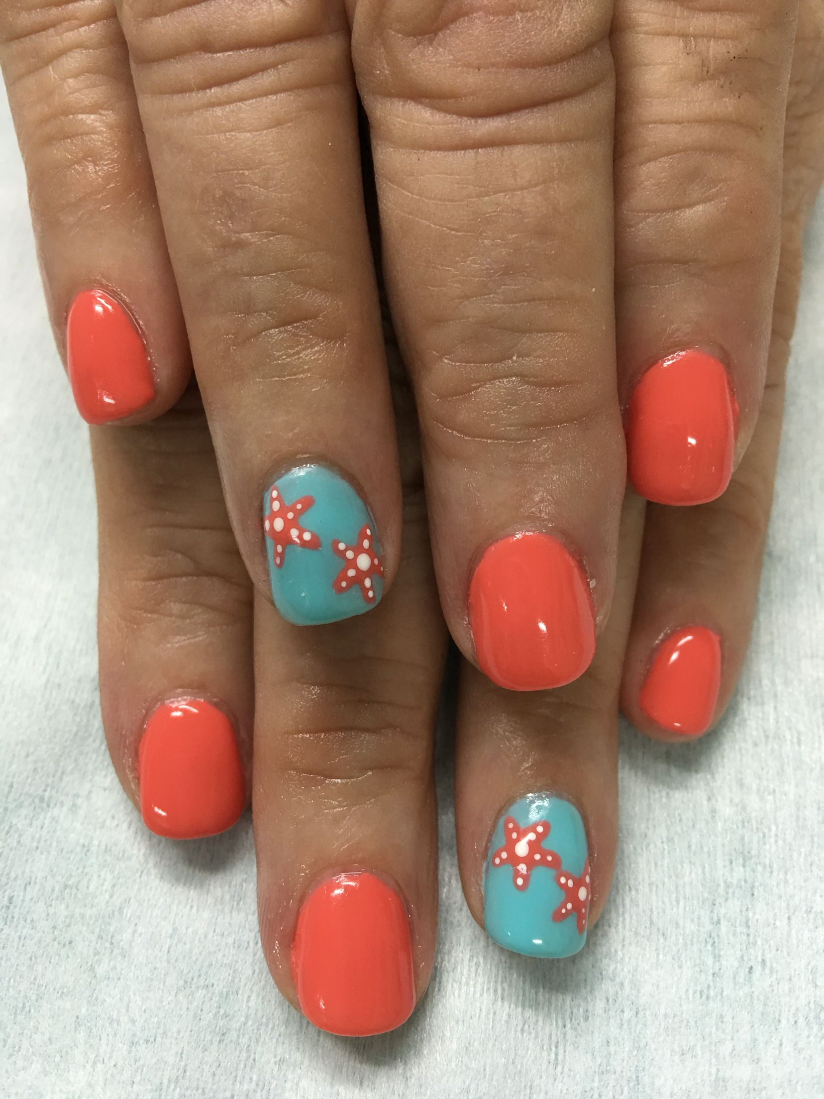 Summer Vacation Beach Orange Sky Blue Starfish Gel Nails Summer Gel Nails Beach Gel Nails Nail Designs Summer Gel