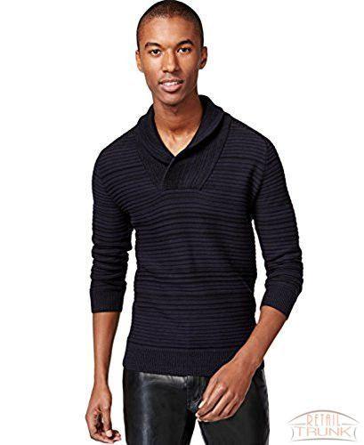 INC International Concepts Men's Shawl-Collar Sweater, Navy, L