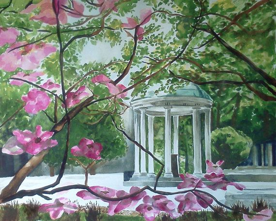 Old Well Chapel Hill Unc University Original Watercolor Painting