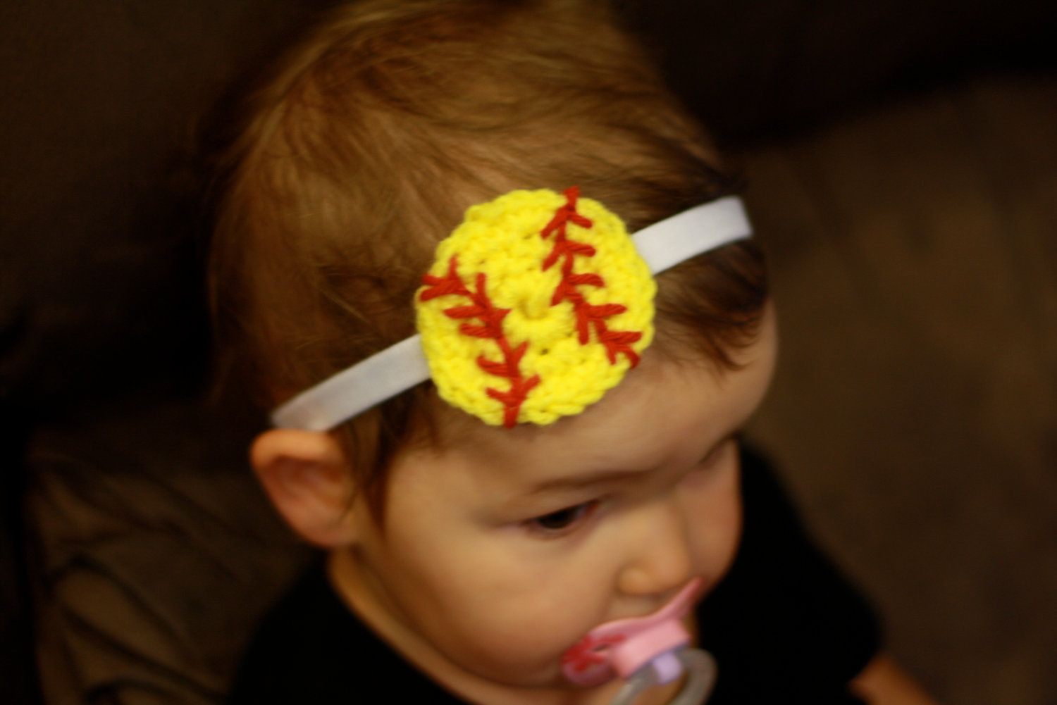Crochet Softball Baby Girl Headband by FlowersforBella on Etsy ...