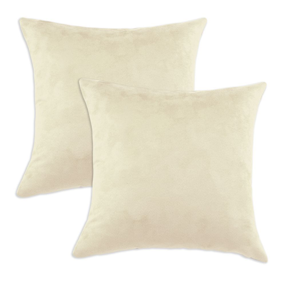 Passion Suede Oyster Cream Simply Soft S-backed 17x17 Fiber Pillows