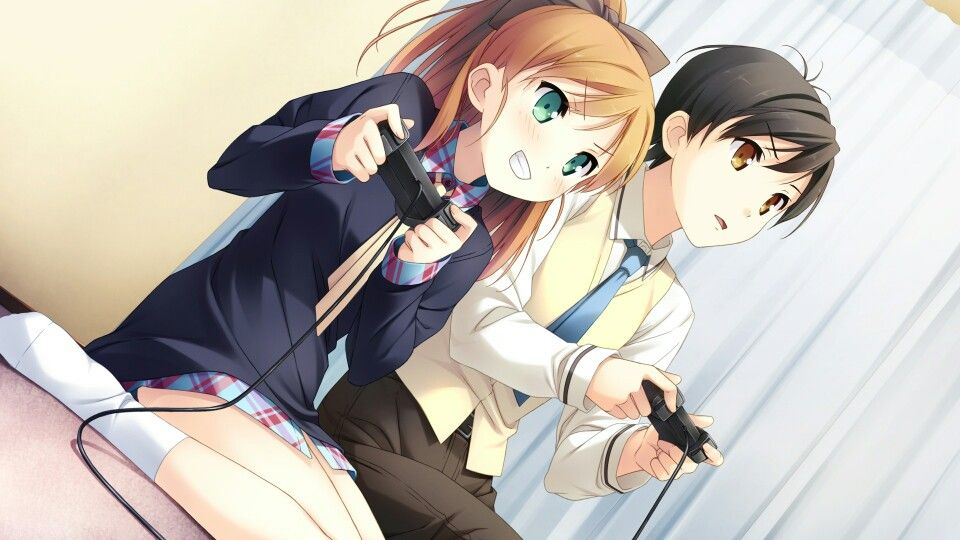 Cute Anime Boy And Girl Playing Video Games