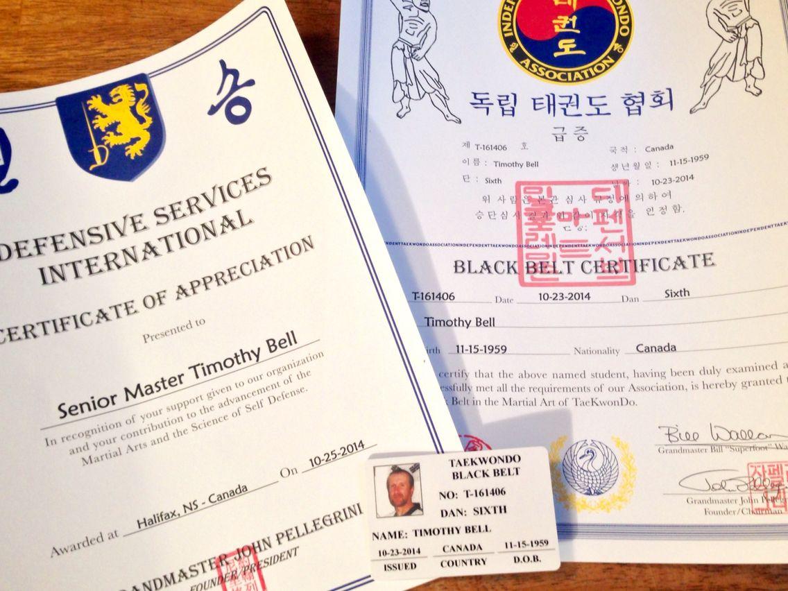 6th Dan Certificate Taekwondo Pinterest Taekwondo