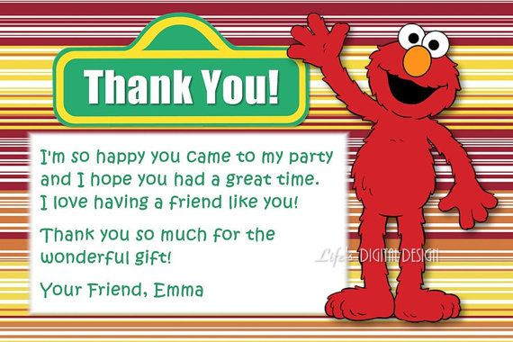 Elmo Thank You Card Stripes With Photo And Background Options