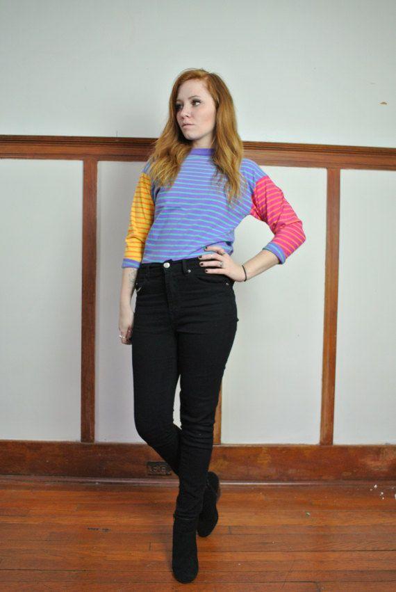 Color Block Stripe 90's top // Small // $15