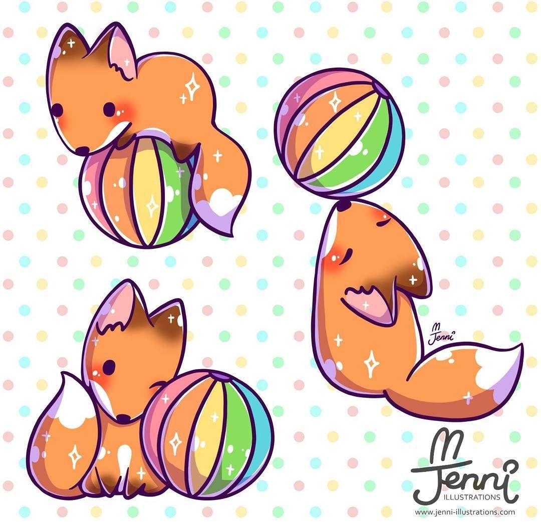 Fox With His Fave Rainbow Ball Fox Rainbow Chibi