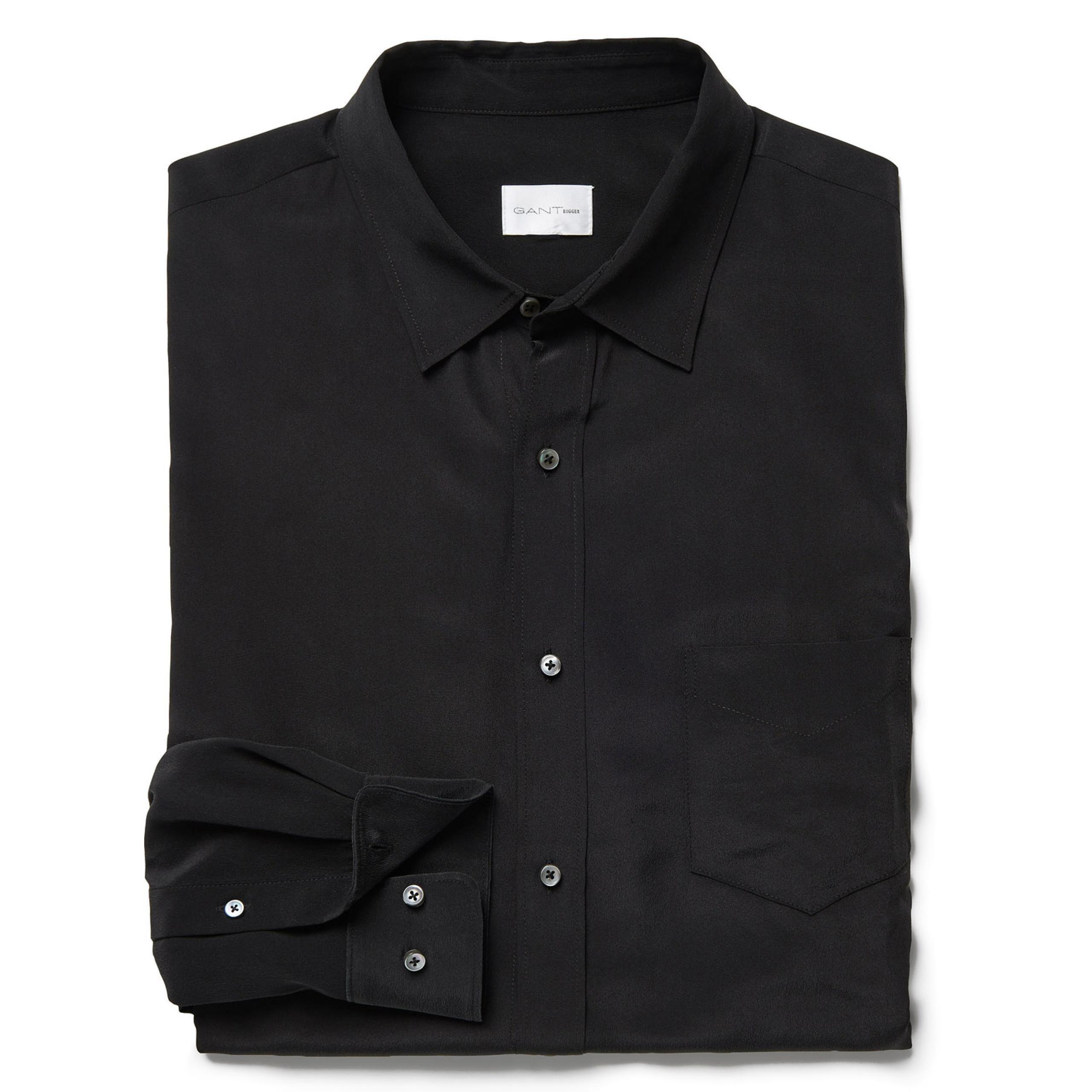GANT Rugger: Black Silk Loose Shirt Men's | GANT USA Store | Fly ...