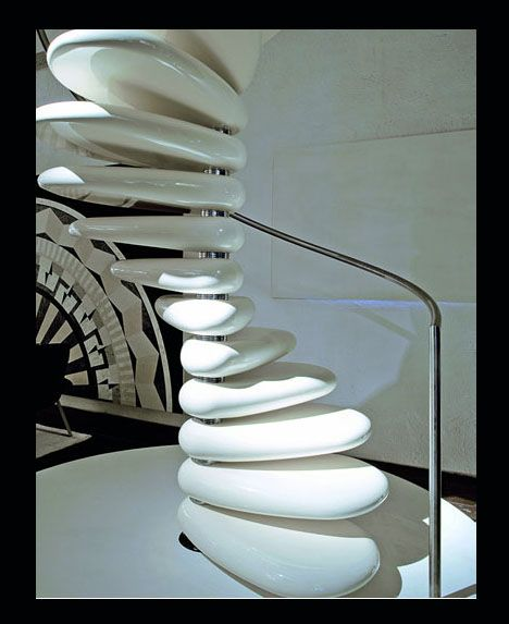 32 Floating Staircase Ideas For Contemporary Home: Stepping Stones: Smooth-Polished Concrete Spiral Staircase