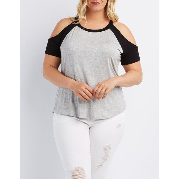 734cec8c Charlotte Russe Cold Shoulder Baseball Tee ($18) ❤ liked on Polyvore  featuring plus size