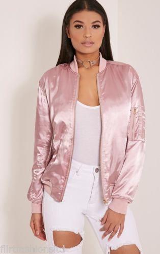 Women Ladies Satin MA1 Bomber Jacket Vintage Summer Coat