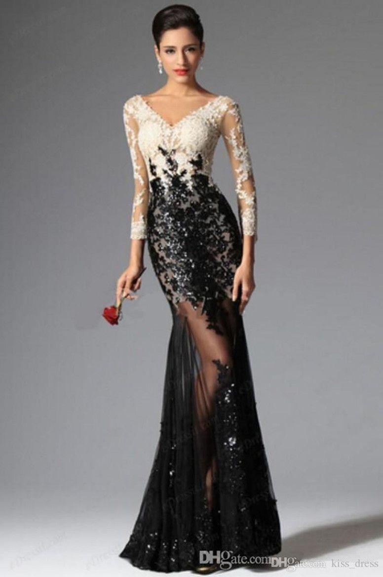 10 Abendkleid Schwarz Weiß Lang in 10  Abendkleid, Elegante